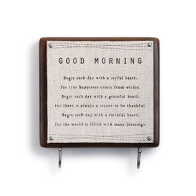 Good morning quote wooden plaque with pinned white fabric