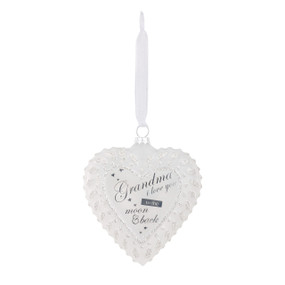 Hanging white heart pendant with 'Grandma I love you to the moon & back' in navy letters