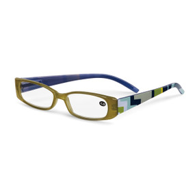 Olive and Blue Geometric Readers with Case