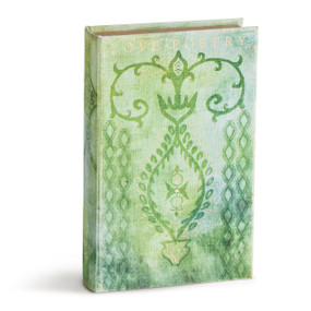 Light green standing book with darker green designs carved in