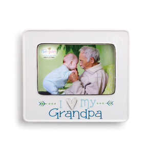White photo frame with image of grandpa holding baby - bottom of frame says 'i heart my grandpa' in blue