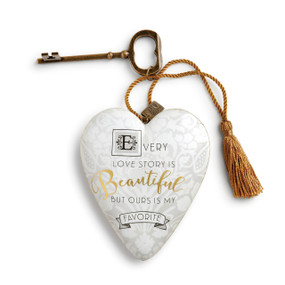 Small white heart pendant with 'every love story is beautiful but ours is my favorite' in black/gold - gold key and tassle attatched