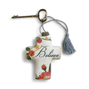 Believe' printed on white cross keychain with red/green flowers keychain