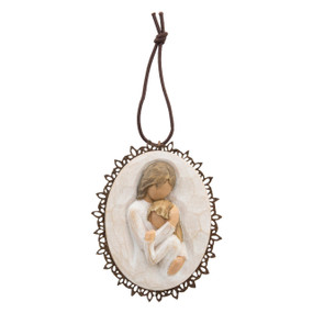 Round cream pendant with wooden outline - middle of pendant is image of woman holding child