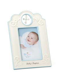 White photo frame with blue details - image ofbaby boy in the center - 'Babys baptism' written on the bottom