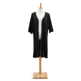 Black shawl wrap quarter sleeves on mannequin stand