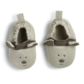 Light grey dog face baby shoes