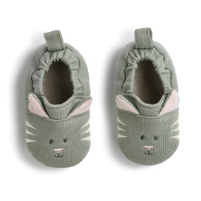 Sage green cat face baby shoes