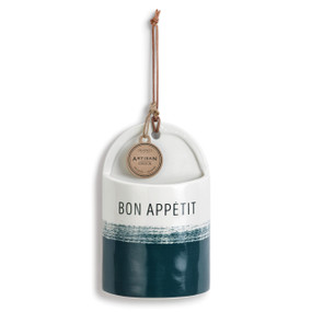 Blue and white Bon Appetit hanging utensil holder with Artisan tag