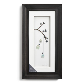 Dark wooden border wall art - image of tree branch hanging with blue bird houses hanging down