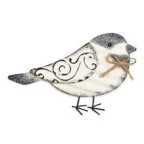 White and grey bird wall art with rope bow tie