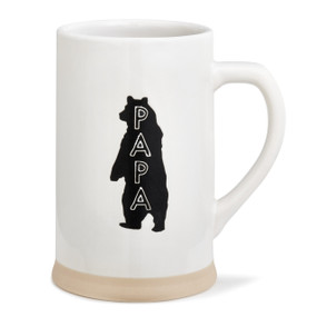 White coffee mug with standing bear and Papa written vertically