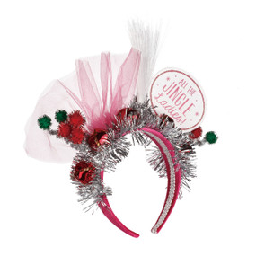 Pink headband with silver confetti and 'all the jingle ladies' in pink/white round tag
