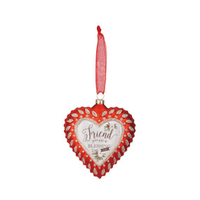 Friend Sentiment Glass Heart Ornament