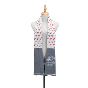 Waist up view of white mannequin stand with white/grey kitchen boa candy cane printed