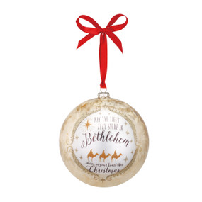Round/silver 'bethlahem' ornament by red string