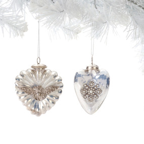 Hanging glass ornaments with embellished centers