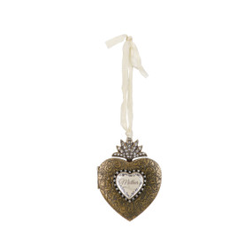 Gold heart hanging pendant with 'mother' in white centered