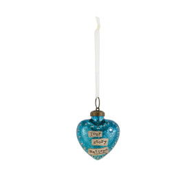 Small hanging blue heart pendant with 'your story matters' in tan banner