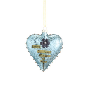 Hanging light blue heart pendant with 'mother your heart will never be alone' in gold banner
