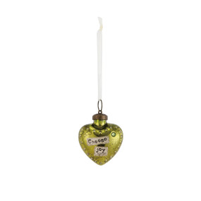 Small yellow hanging heart pendant with 'choose joy' in banner
