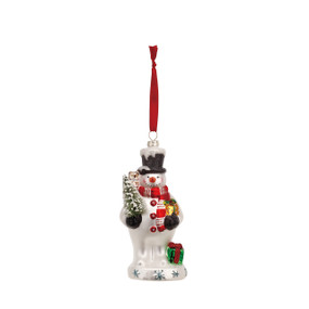 White snowman figurine ornament with red scarf and black top hat