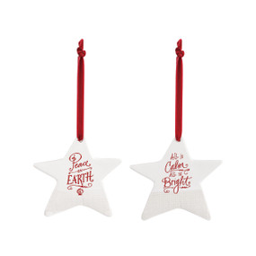 Set of two white star ornaments with sayings in red on them