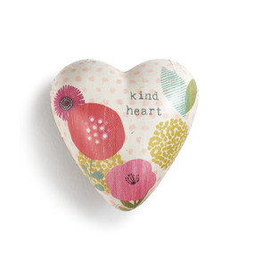 ceramic heart with multicolor flowers and Kind Heart printed on it