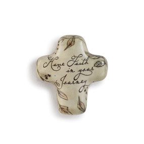 small tan cross with leaf illustrations and Have Faith in Your Journey printed in black script