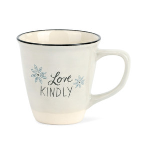 white mug with black rim reading Love Kindly
