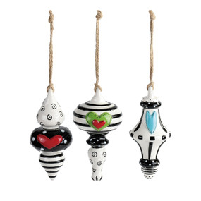 Set of three side by side hanging black/white ornaments with hearts