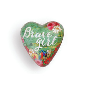 Small green heart pendant with 'brave girl' in white surrounded by pink flowers