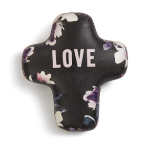 Brown chunky cross figurine with purple/white flower print on sides, LOVE in light pink letters in the center