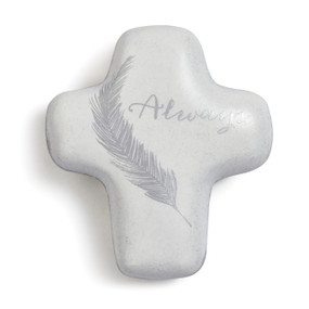 Small white cross with grey feather and Always printed