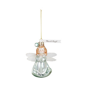Green/orange doll ornament with silver wings