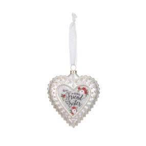 Hanging white heart pendant by white string