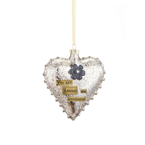 Silver hanging heart pendant with 'you are loved and treasured' in black letters