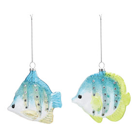 blue and green glass fish glittery ornaments