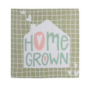illustration of green grid design with white house silhouette in middle reading Home Grown