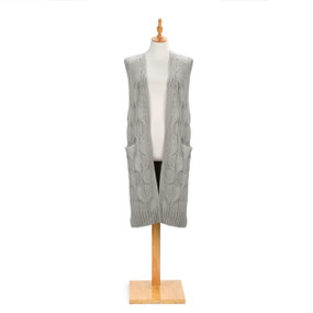 gray knit cardican with long hem with pockets