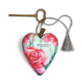 ceramic heart with roses and 'everlasting happy spirit' printed on it tied to a brass key