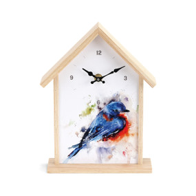clock with white background, shaped like a birdhouse, with colorful painted chickadee on front