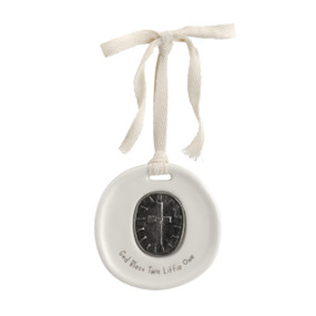 round hanging ceramic charm with metal cross and sentiment God Bless This Little One