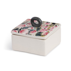 white square ceramic box with pink and black flower painting on lid