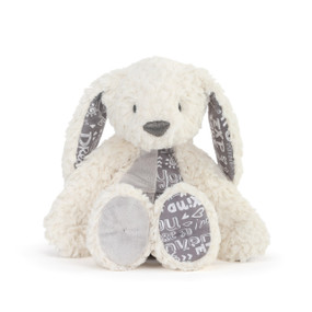 white plush bunny stuffed animal with gray and white patterned fabric on stomach, ears and one foot