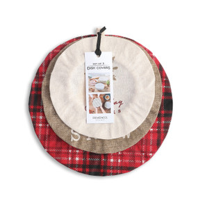 three holiday themed dish covers with product label