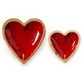 two different sized wooden hearts with red shiny puffy hearts on top