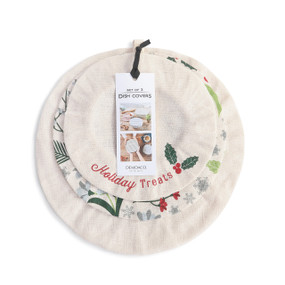 set of three sizes of holiday themed cream colored dish covers with product label