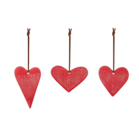 red ceramic textured heart ornaments in different shapes
