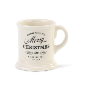 white mug with Wishing you a Very Merry Christmas and a Season Full of Joy printed in black